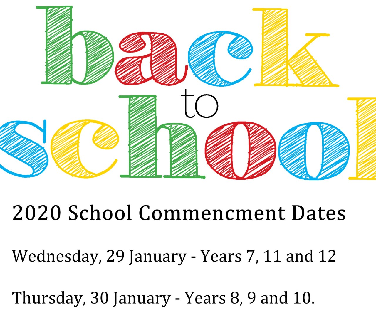 School Commencement Dates, 2020