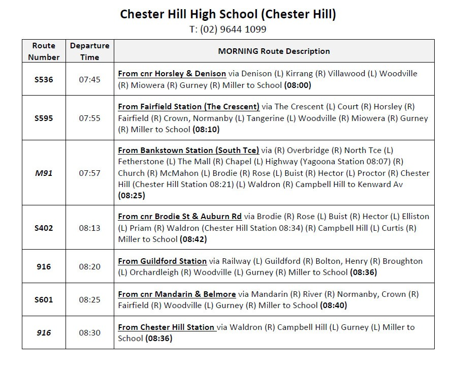 CHHS 2020 Bus Timetable Information